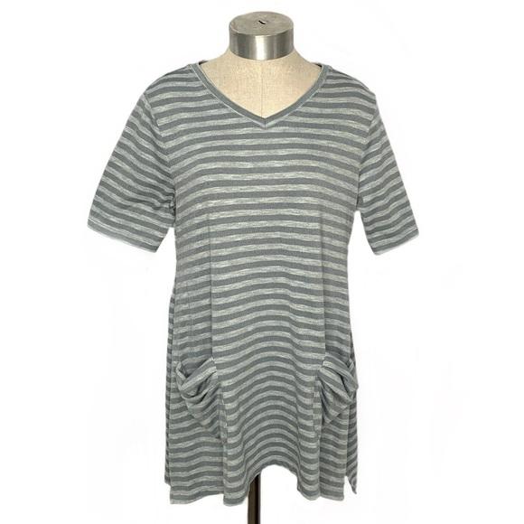 LOGO Gray Striped Short Sleeve Pullover Tunic Top